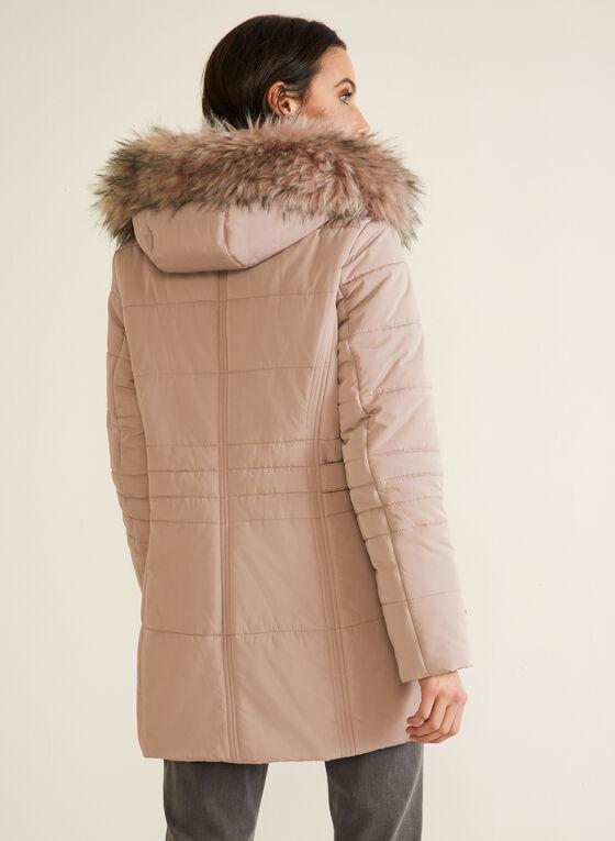 Quilted Vegan Down Coat, Pink