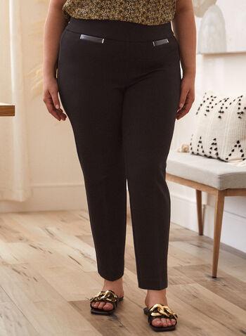 Pantalon à enfiler à fausses poches, Noir,  pantalon, bas, à enfiler, pull-on, jambe droite, fausses poches contrastantes, automne 2021, basique