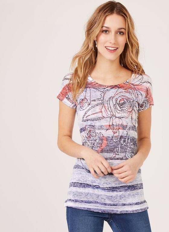 Vex - T-shirt motif floral et détails strass, Bleu, hi-res