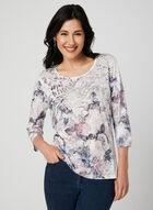 Floral Print ¾ Sleeve T-Shirt, White, hi-res