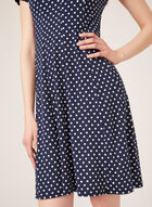 Dot Print Fit & Flare Dress, Blue, hi-res