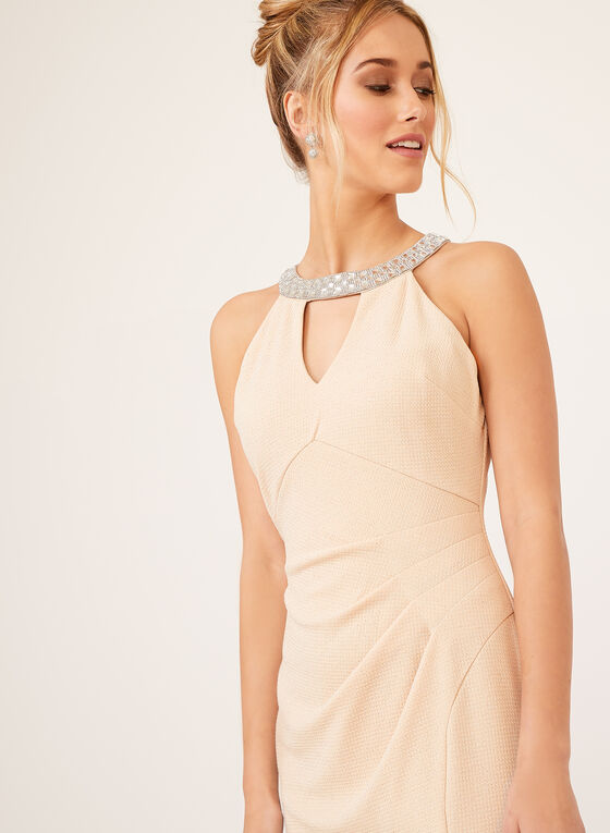 Marina - Cleo Neck Glitter Dress, Off White, hi-res