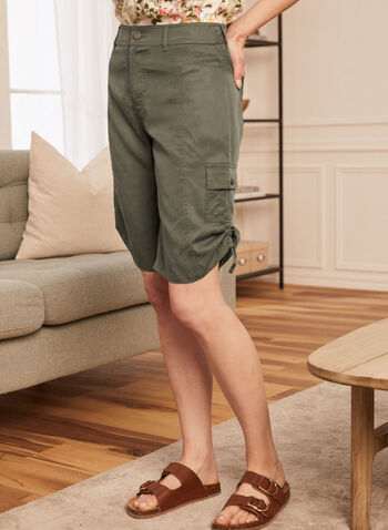 Tencel Cargo Bermuda Shorts, Green,  shorts, cargo, bermudas, drawstring, zip fly, pockets, spring summer 2020