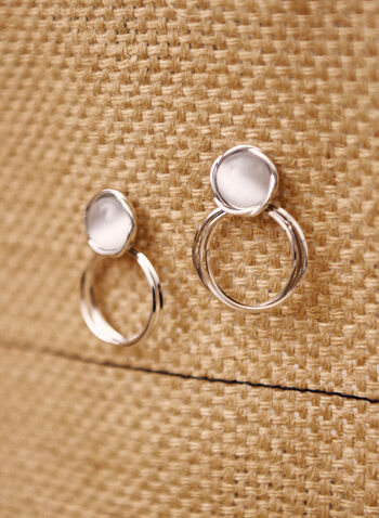 Double Ring Bead Earrings, White,  spring summer 2021, earrings, accessory, accessories, beads, rows, rings, round, silver