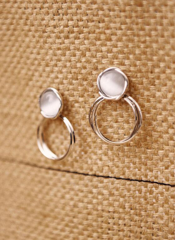 Boucles d'oreilles bille à deux rangées, Blanc