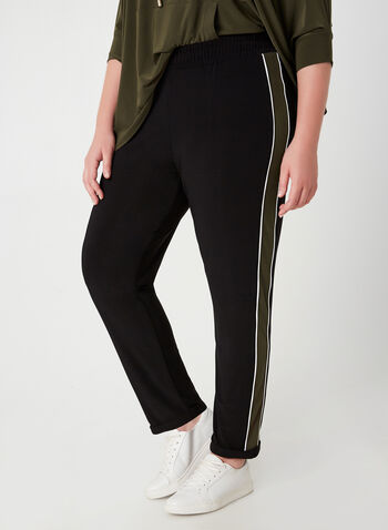 Joseph Ribkoff - Modern Fit Pants, Black, hi-res,  fall winter 2019, slim leg, athletic stripe, jersey fabric
