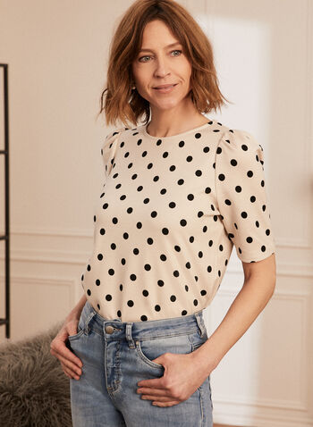 Dotted Print Elbow Sleeve Tee, Black,  top, tee, t-shirt, elbow sleeves, polka dot print, round neck, ponte di roma, made in Canada, spring summer 2021