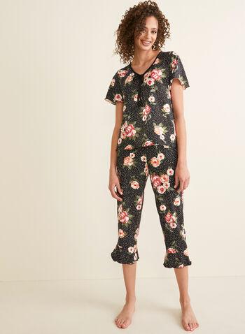 Hamilton - Dotted Floral Print Pyjama Set, Black,  pyjamas, set, ensemble, floral, dotted, jersey, tie, short sleeves, capris, v-neck, flared, wavy, spring summer 2020
