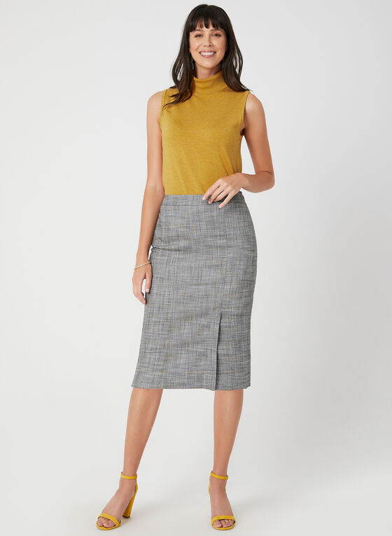 Plaid Print Straight Skirt, Black