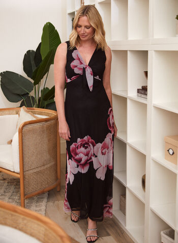 Floral Print Knot Detail Dress, Black,  day dress, maxi, floral, mesh, knot, v-neck, sleeveless, spring summer 2020