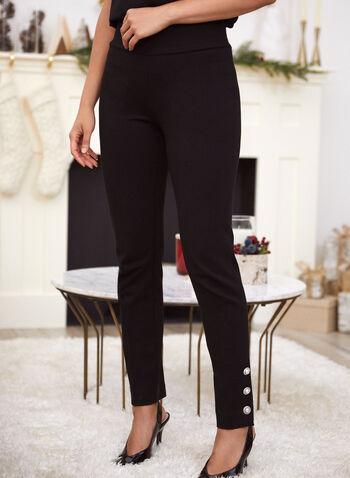 Pearl Detail Pull-On Pants, Black,  fall winter 2020, straight leg, pearls, slip-on waist, elastic waist, stretch, folds