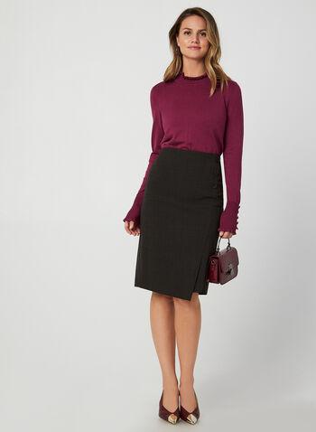 Pull en tricot à détails volantés, Violet,  pull, manches longues, col montant, volants, boutons, tricot, automne hiver 2019