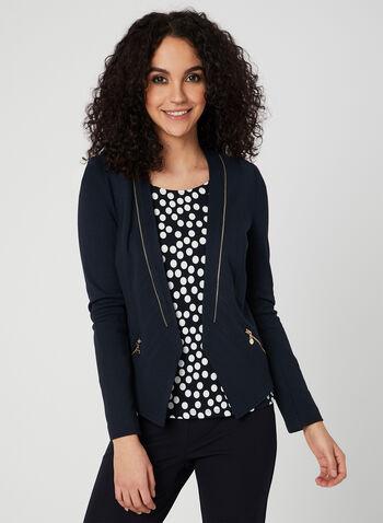 Vex - Blazer ouvert à détails zippés, Bleu, hi-res,  blazer, zippé, printemps 2019, ouvert, manches longues, ourlet pointu