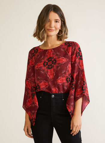 Printed Draped Sleeve Blouse, Red,  Fall winter 2020, blouse, flowy, draped sleeves, printed, muslin