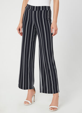 Stripe Print Wide Leg Pants, Blue, hi-res,  modern fit, jersey, pull-on, fall 2019, winter 2019