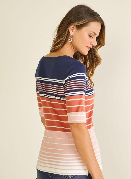Stripe Print Elbow Sleeve Tee, Grey