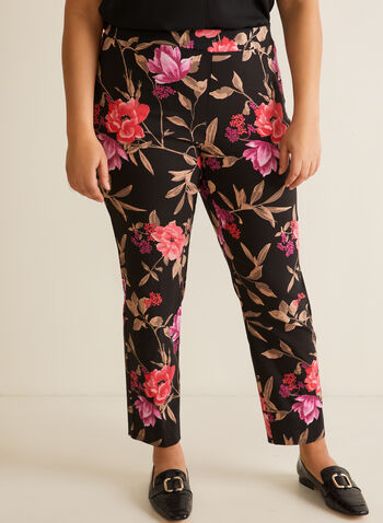 Floral Print City Fit Pants, Black,  pants, slim leg, city fit, pull-on, floral, bengaline, spring summer 2020