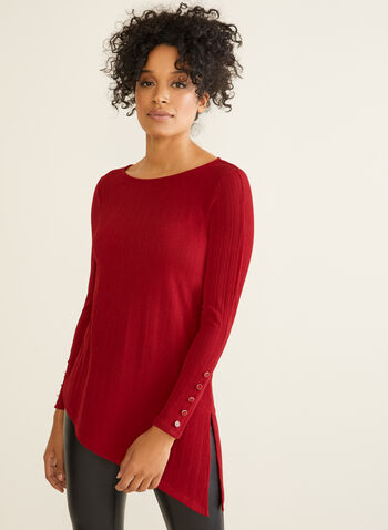 Asymmetrical Tunic Top, Red,  Canada, top, tunic, ribbed, asymmetrical, long sleeves, fall 2019, winter 2019