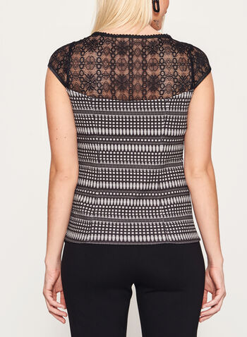 Abstract Print Embellished Lace Scuba Top, , hi-res