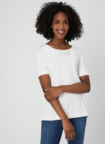 Boat Neck T-Shirt, Off White, hi-res