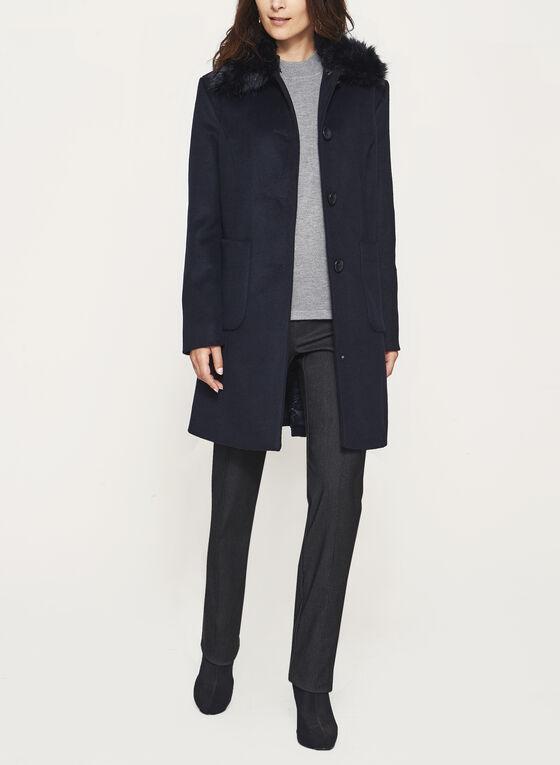 Marcona - Manteau de laine avec col en fausse fourrure, Bleu, hi-res