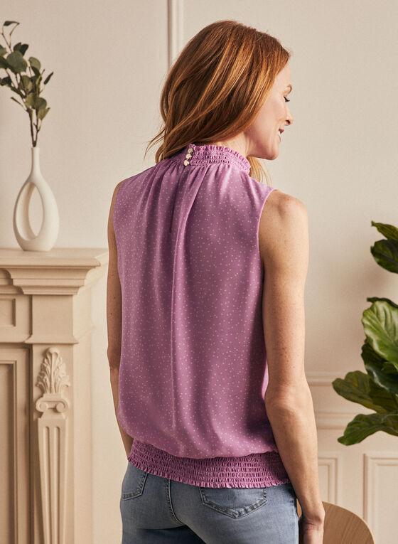 Smocked Neck Sleeveless Blouse, Purple