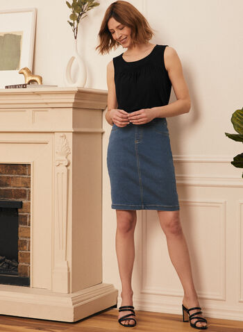 Pull-On Denim Straight Skirt, Blue,  skirt, straight, denim, pull-on, pockets, spring summer 2020