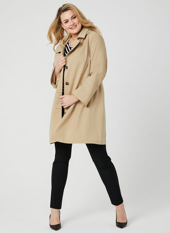 Hooded Button Down Coat, Brown, hi-res,
