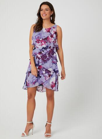 Robe étagée en mousseline fleurie, Violet,  robe de jour, sans manches, col dégagé, mousseline fleurie, étagée, volantée, printemps 2019