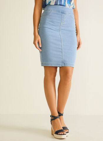 Blossom - Pull-On Denim Skirt, Blue,  skirt, denim, straight, pockets, pull-on, spring summer 2020