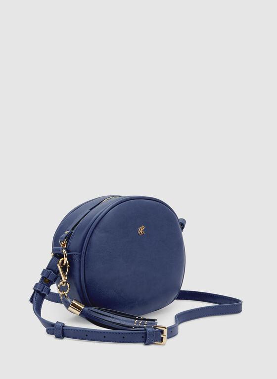 Round Crossbody Bag, Blue, hi-res
