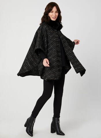 Faux Fur Ruana, Black, hi-res,  faux fur, mock neck, shawl, fall 2019, winter 2019