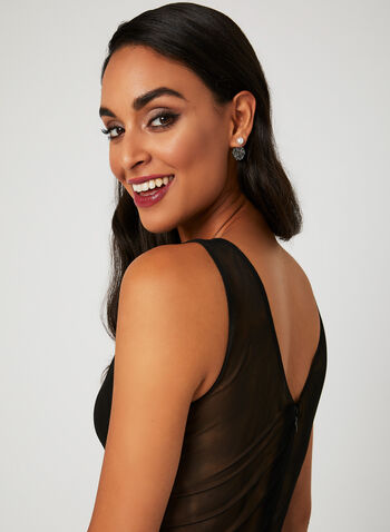Plunging Neckline Beaded Sash Dress, Black, hi-res