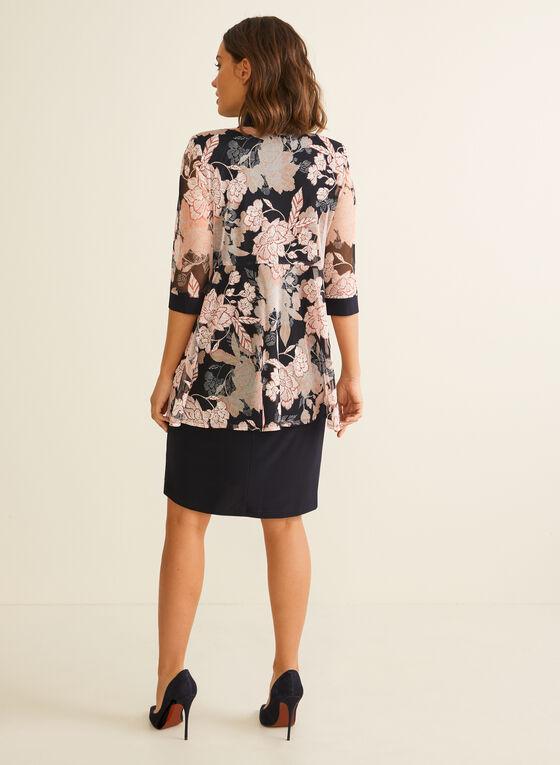 Dress & Floral Print Cardigan Set, Blue