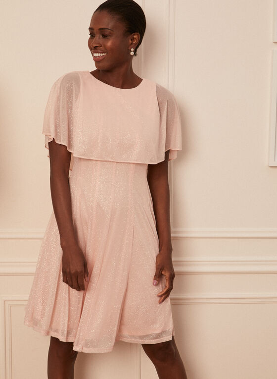 Glitter Mesh Dress, Pink