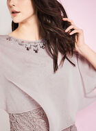 Sequin & Lace Poncho Gown, Brown, hi-res