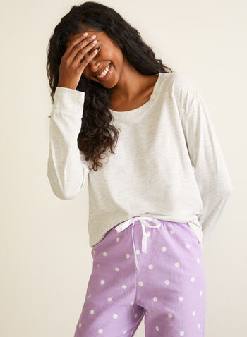 Polka Dot Print Pyjama Set, Grey,  fall winter 2020, pyjama set