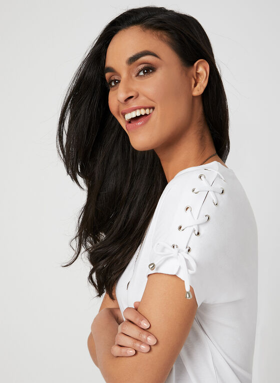 Lace Up Detail T-Shirt, White