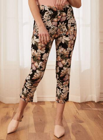 Capri pull-on motif floral, Noir,  capri, pull-on, fleurs, jambe étroite, bengaline, printemps été 2020