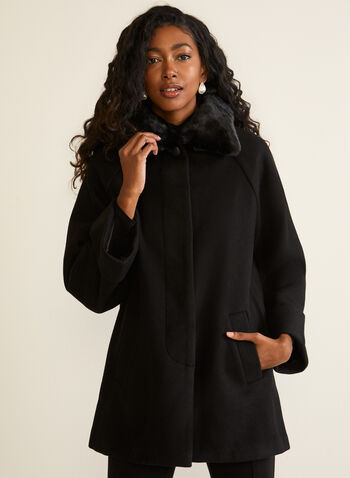 Stretch Wool Blend Raglan Sleeve Coat, Black,  fall winter 2020, wool, raglan sleeve, buttons, pockets, faux fur, coat