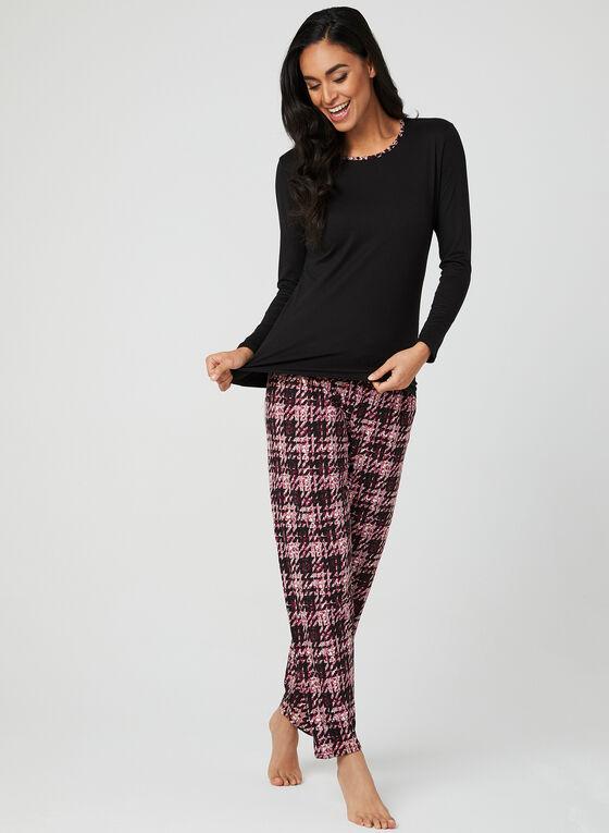 Abstract Print Pyjama Set, Black, hi-res