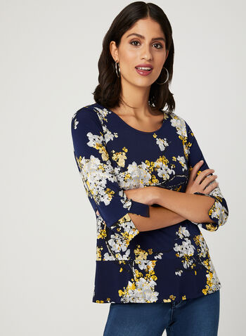 Floral Print Faux Peplum Top, Blue, hi-res
