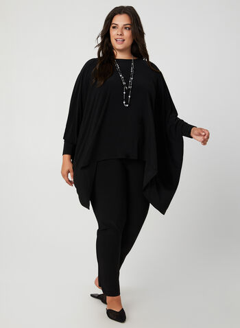 Joseph Ribkoff - Jersey Poncho Top, Black, hi-res,  fall 2019, winter 2019, jersey, ¾ sleeves, scoop neck