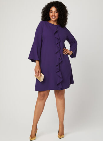 Bell Sleeve Crepe Dress , Purple, hi-res
