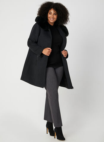 Portrait - Wool Blend Coat, Grey, hi-res,  Portrait, coat, long sleeves, interior vest, wool, fall 2019, winter 2019