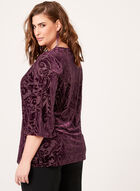 Paisley Velvet Bell Sleeve Blouse , Purple, hi-res