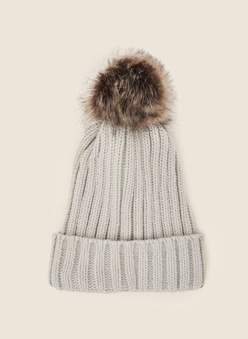 Removable Pom Pom Ribbed Hat, Off White,  fall winter 2020, tuque, hat, knitting, accessory, faux fur, removable