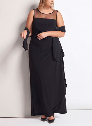 Mesh Yoke Jersey Gown with Shawl, Black, hi-res