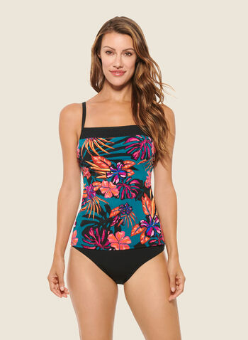 Christina - Square Neckline Two-Piece Swimsuit, Black,  swimsuit, swimwear, tropical print, one piece, fall winter 2020