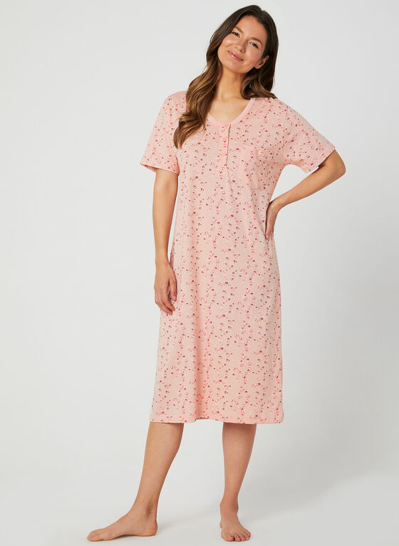 Bellina - Cotton Floral Print Nightgown, Pink, hi-res
